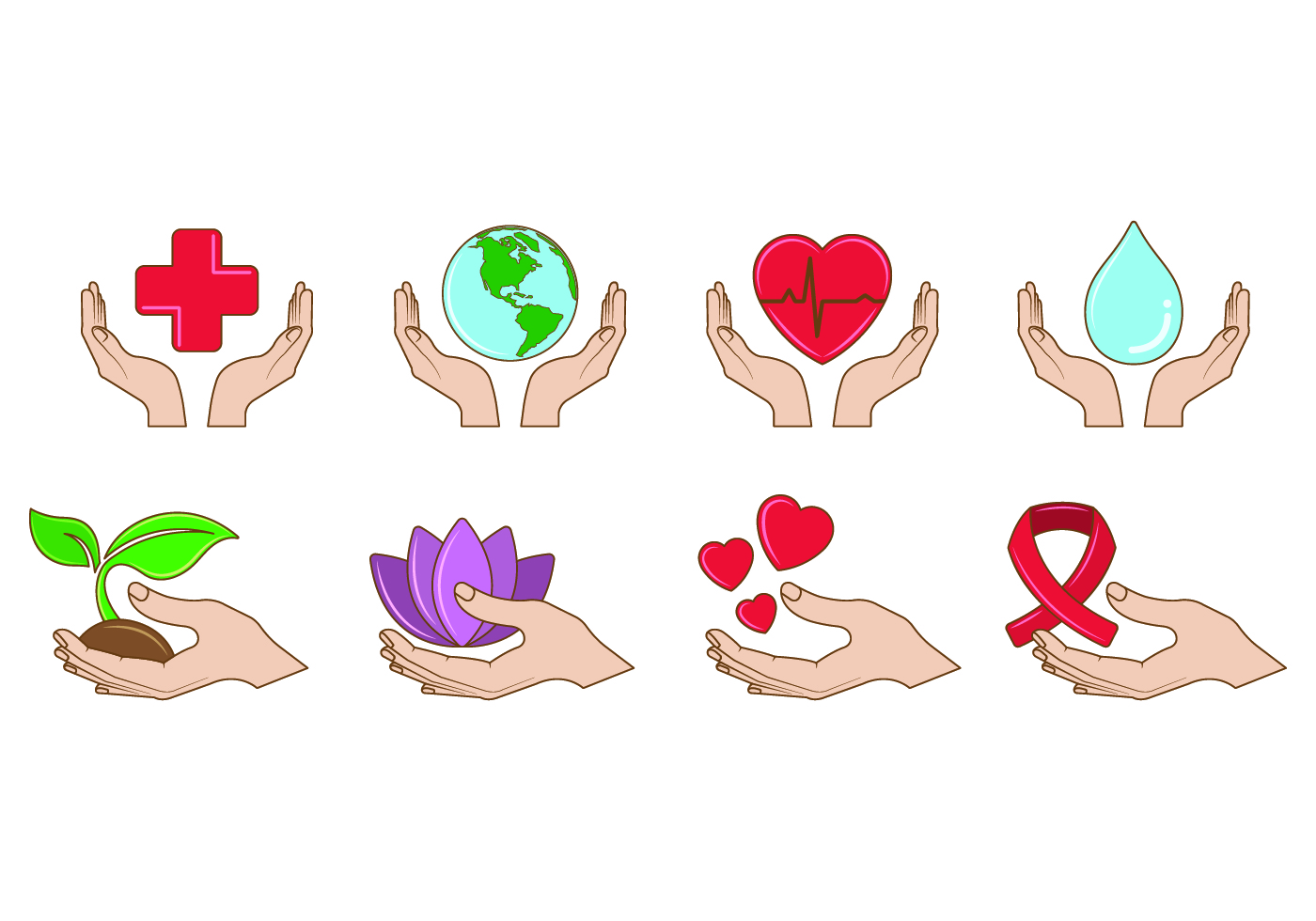 Set Of Healing Hands Icon
