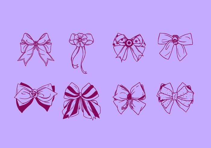 Hand Drawn Hair Ribbon Free Vector