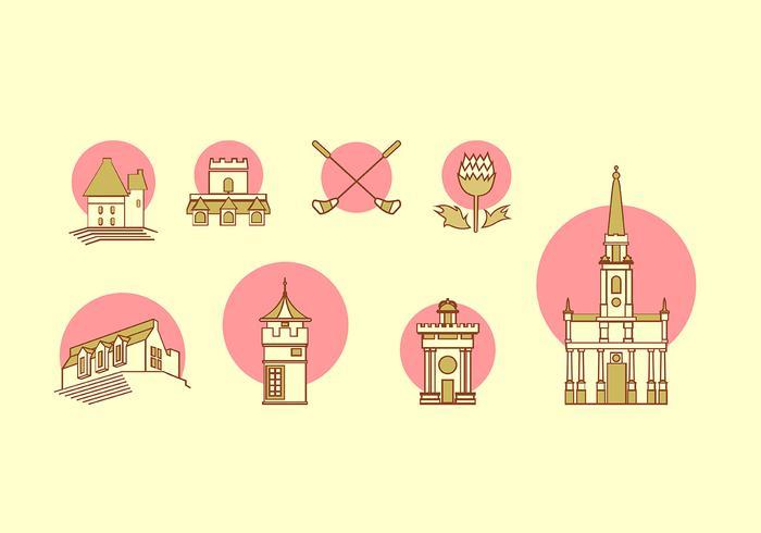 Icono de Edimburgo conjunto de vectores gratis