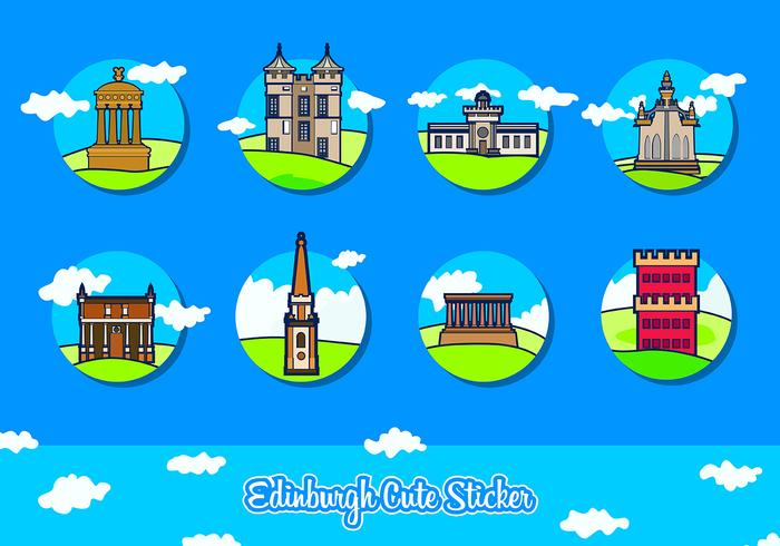 Edinburgh Cute Sticker Free Vector