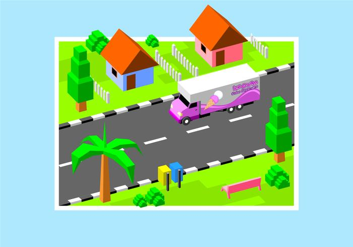 Isometric Ice Cream Moving Van Free Vector