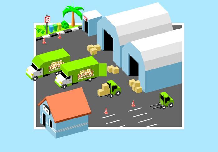 Flytta Van In Factory Gratis Vector