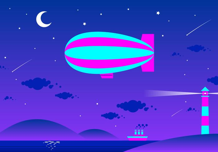 Dirigible In The Night Free Vector