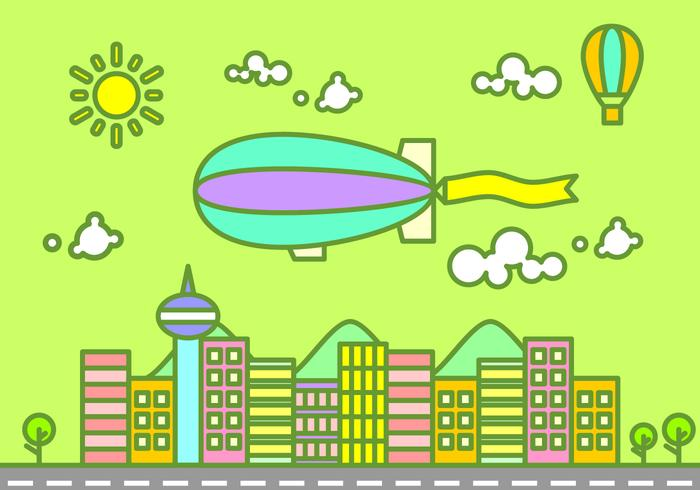 Dirigible Flying Over The City Free Vector