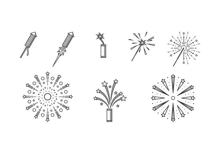 Lijnpictogram Vuurwerk Gratis Vector