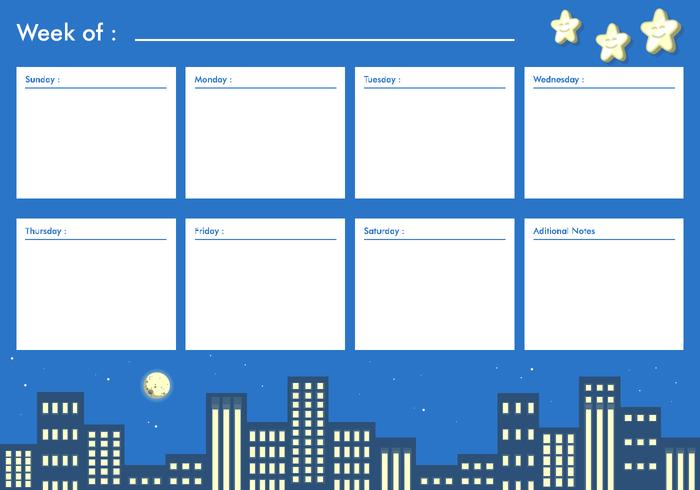 Night City Printable Weekly Calendar Free Vector