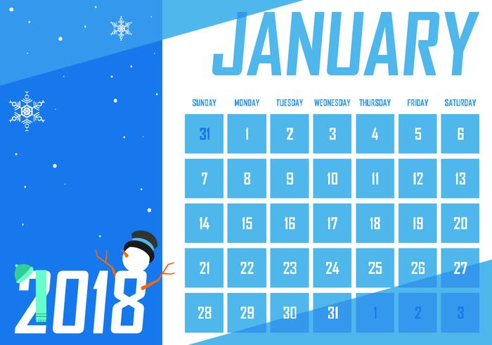 January Printable Monthly Calendar Free Vector