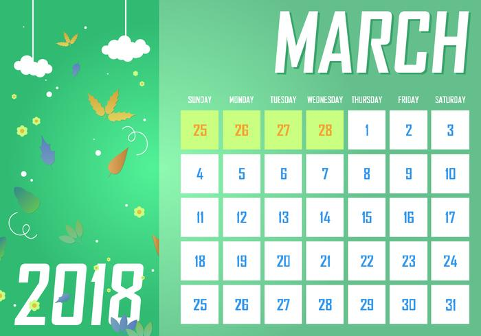 March Printable Monthly Calendar Free Vector