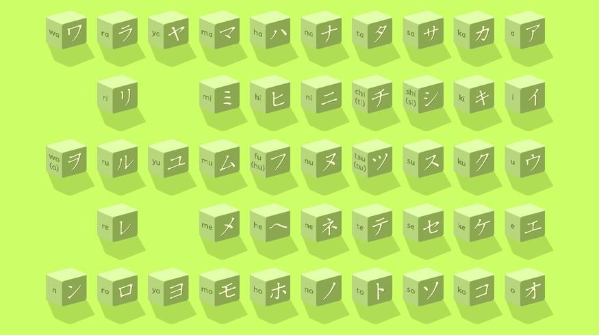 Cubo de letras japonesas vector libre
