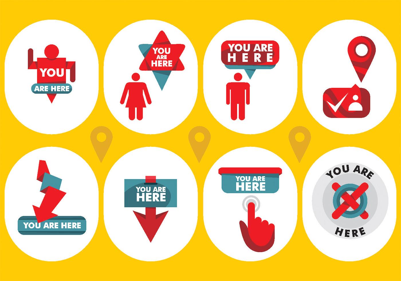 Mapa Plano Con Pin Icono De Puntero De La: Usted Está Aquí Vector Icons
