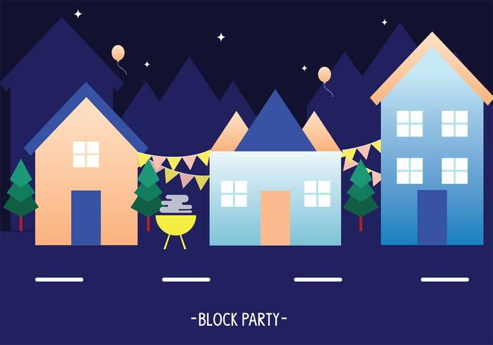 Block Party at Night Vector kunst