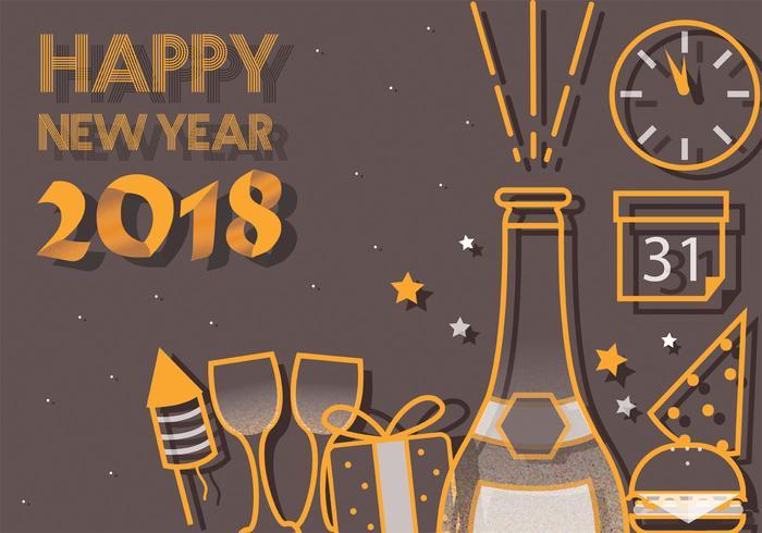 Happy New Year 2018 Vector Art