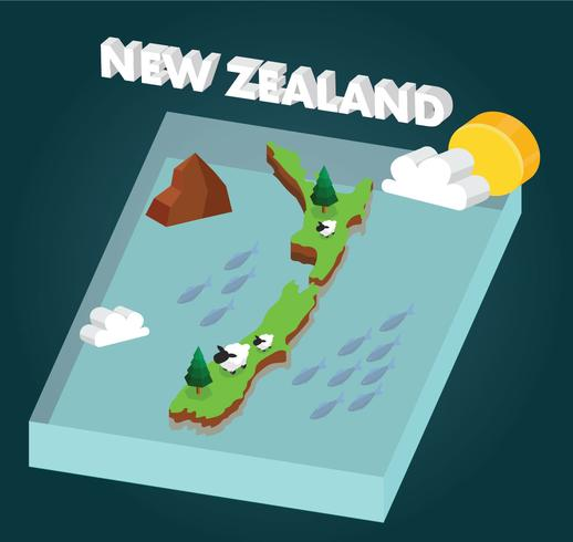 Isometric New Zealand Map Vector Design