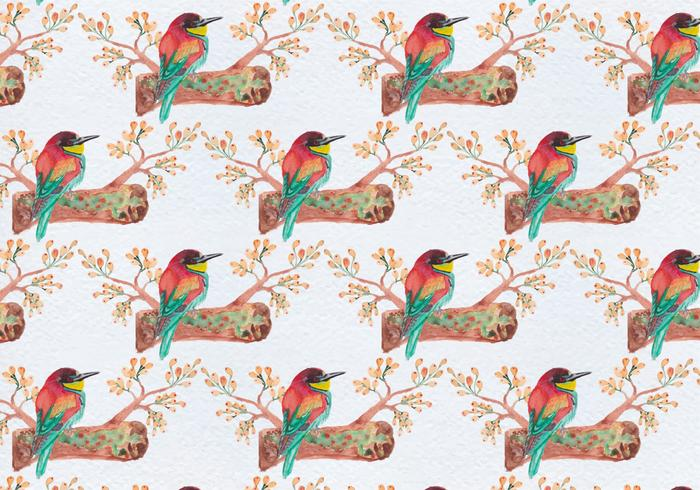 Free Vector Seamless Pattern With Birds on Branch