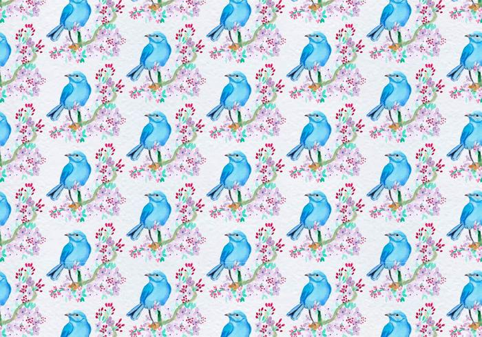 Free Vector Pattern With Painted Bird On Floral Branch