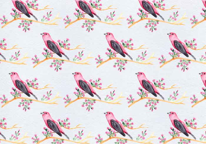 Free Seamless Vector Pattern With Birds On Tree Branch