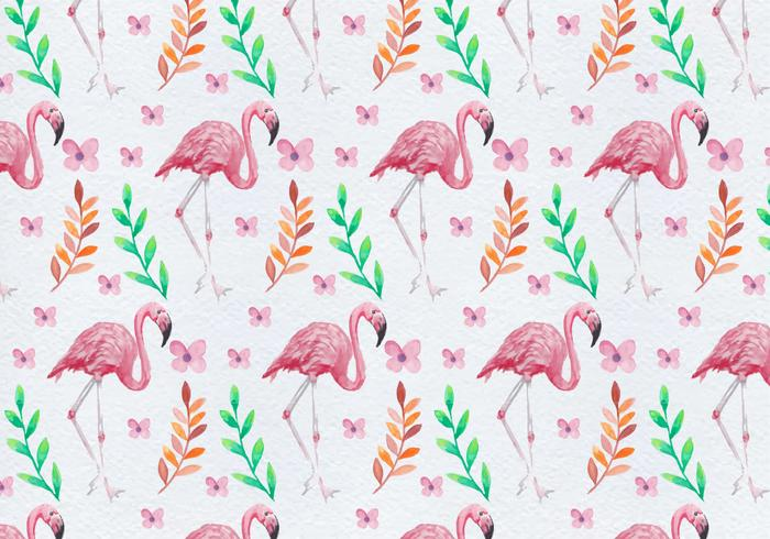 Free Painted Flamingo Flower Vector Pattern