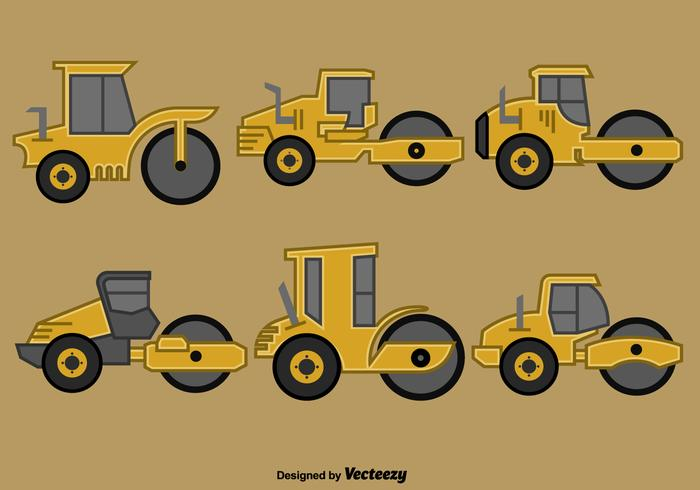 Set Of Vector Steamroller Icons Flat Style