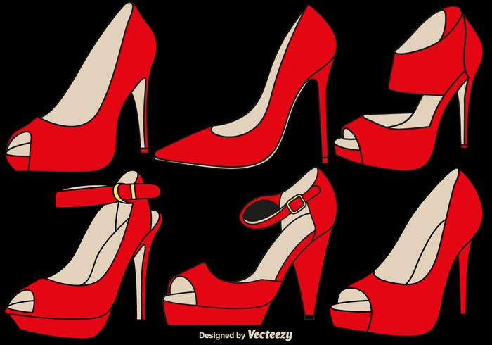 Vector Elegant Ruby Slippers Set