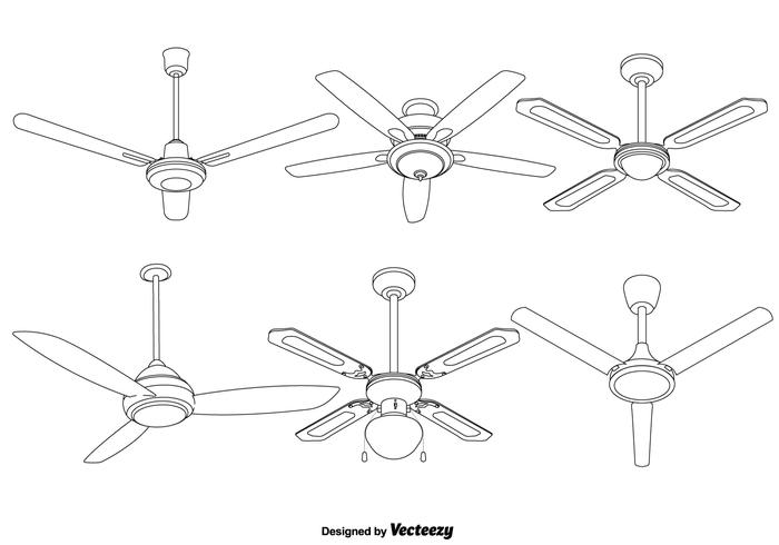 Set Of Vector Detailed Ceiling Fan illustrations