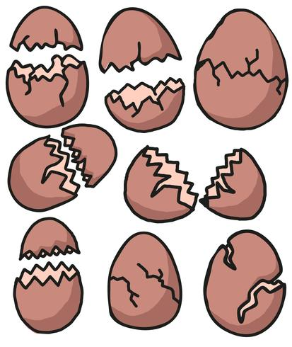 Vector Broken Eggs Cartoon Style Set