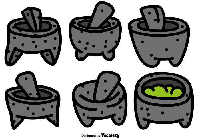 Vector Set Mexican Molcajete With Pestle Color Icons