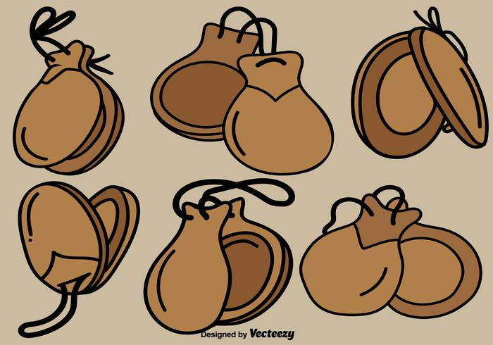Vector Castanets Hand Drawn Color Icons