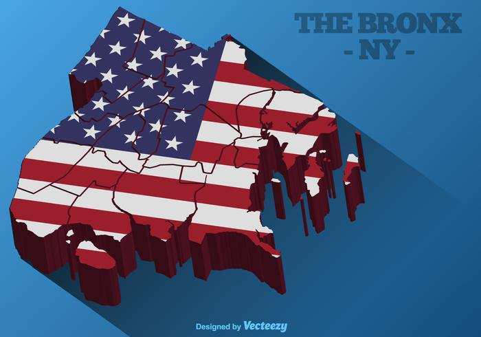 The Bronx 3D Map With American Flag On It