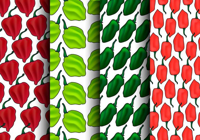 Habanero Pepper Seamless Pattern Set - Vector