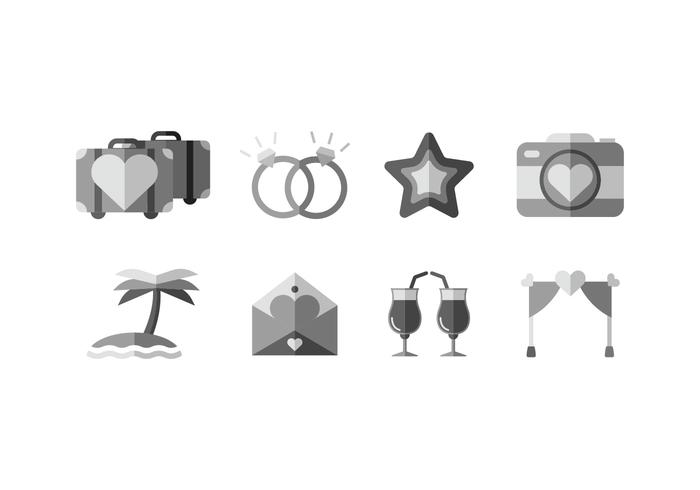 Wedding beach vector icons