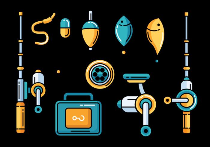Ícone dos ícones de pesca vetor
