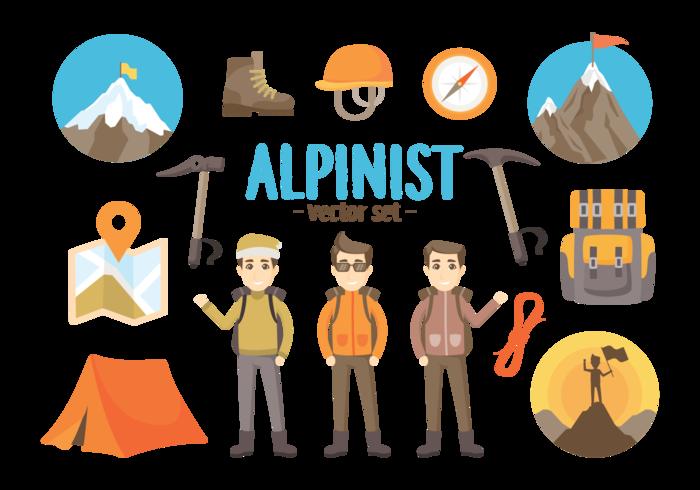 Alpinist Verktyg Vector Illustrationer