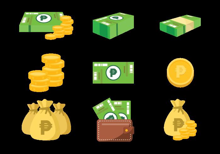 vector de iconos de dinero mexicano de peso