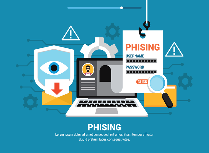 Phishing via Internet Illustration