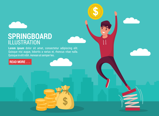Businessman Jumping From Springboard