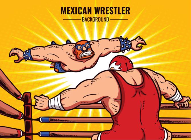 Mexican Wrestler Cartoon Illustration