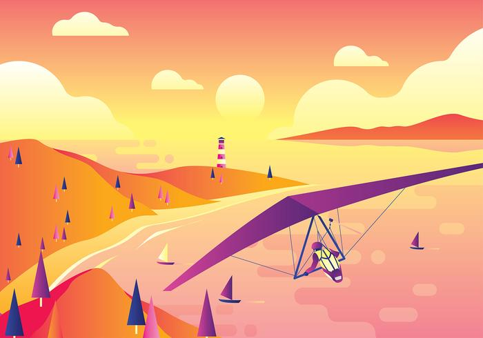 Hang Glider Beach Gratis Vector