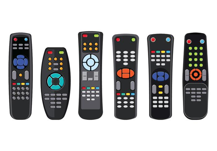 Remote TV Control with Various Button Isolated on White Background