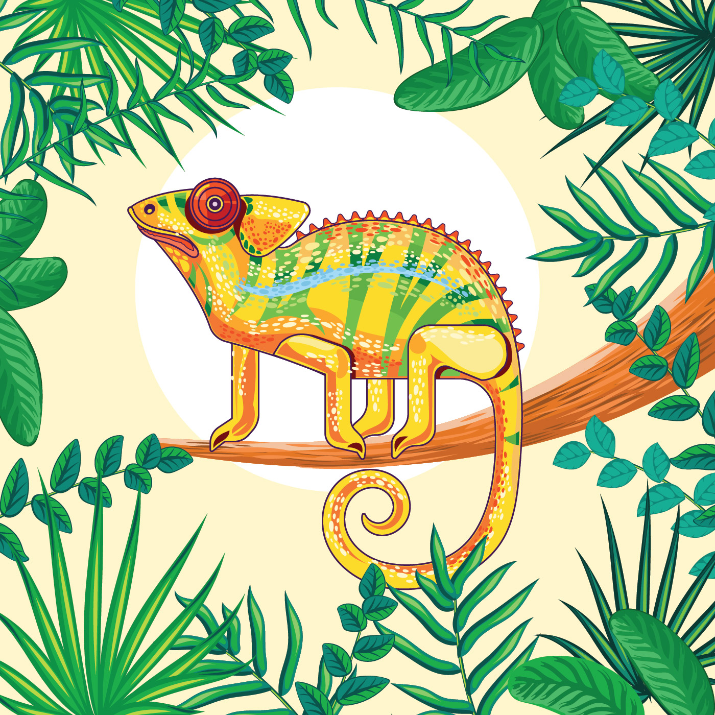 Chameleon Fantasy Yellow Colors With Tropical Jungle