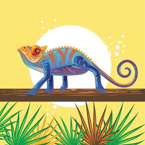 Beautiful Blue Chameleon Standing on a Tree vector