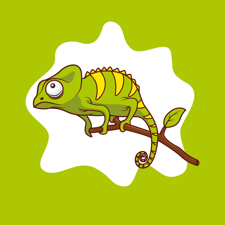 Chameleon on Branch Illustration - Download Free Vector ...