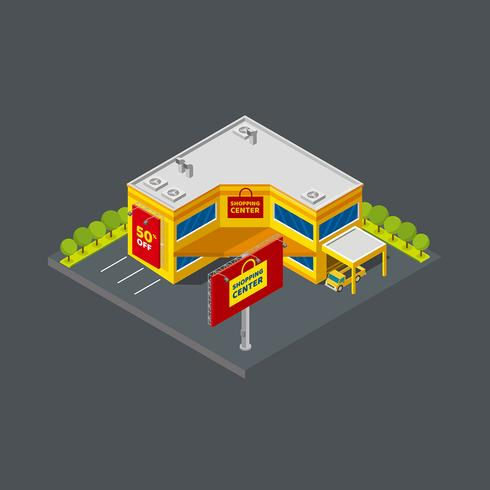 Shopping Center Isometric Angle Free Vector