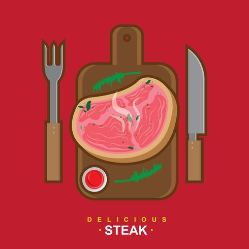 Delicious Veal Steak Vector