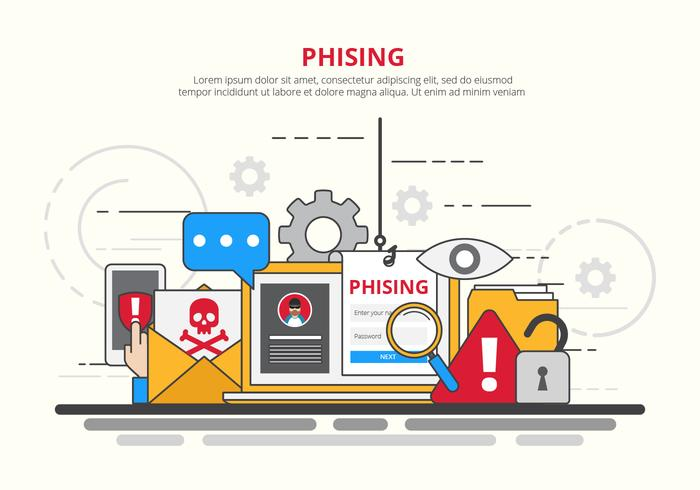 Internet Phishing, Scams och Security Concept Illustration vektor