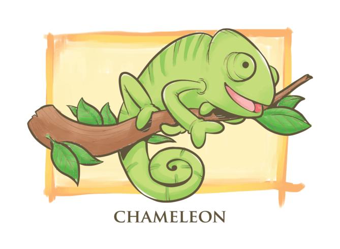 ilustração dos desenhos animados camaleão download vetores e