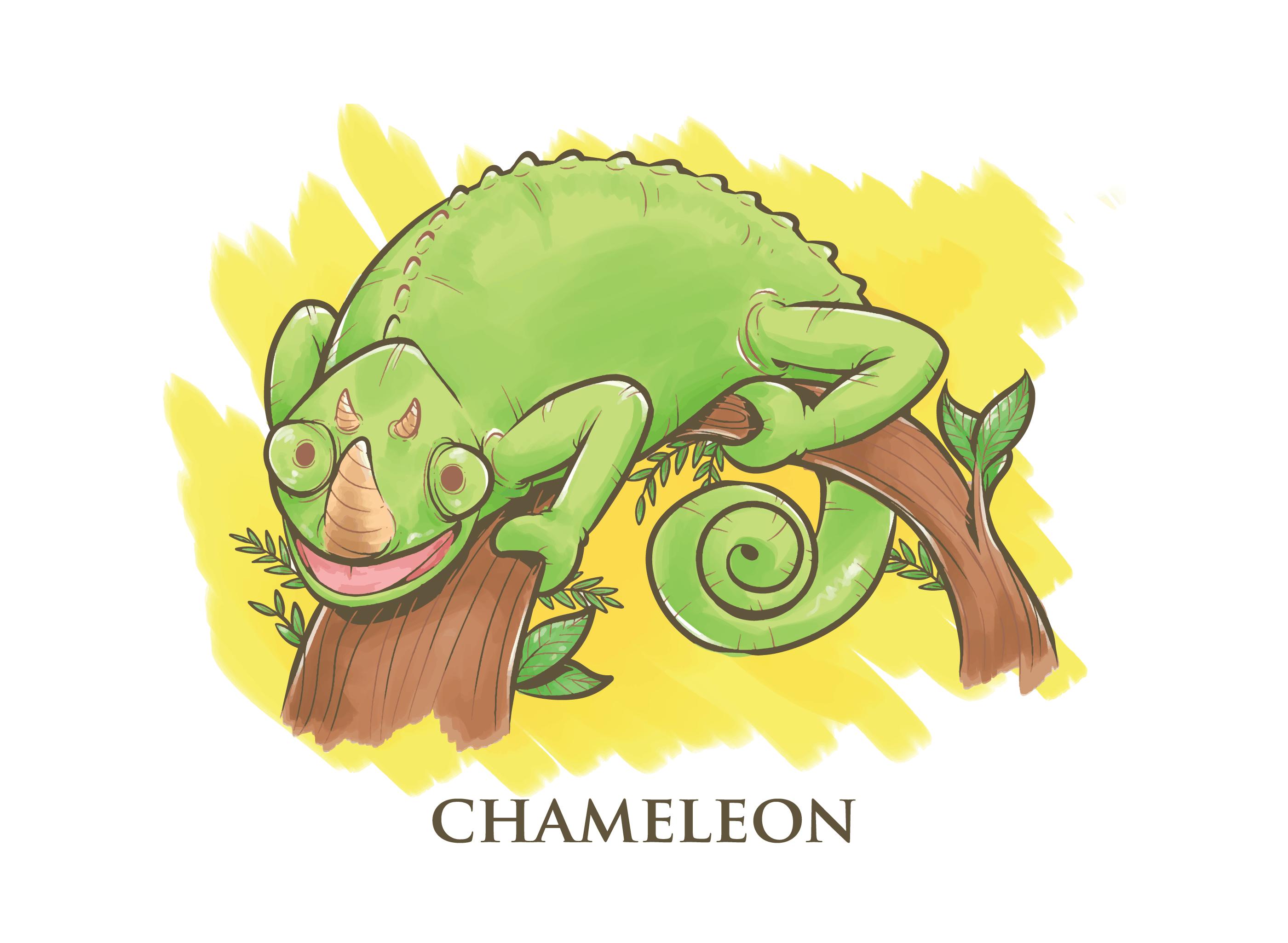 Vector Illustration Web Designs: Chameleon Cartoon Illustration