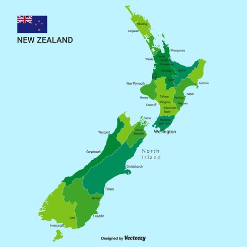 Vector New Zealand Map With Cities And Regions