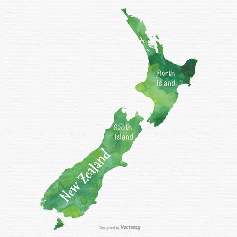 New Zealand Map Silhouette Filled With Green Watercolor Texture