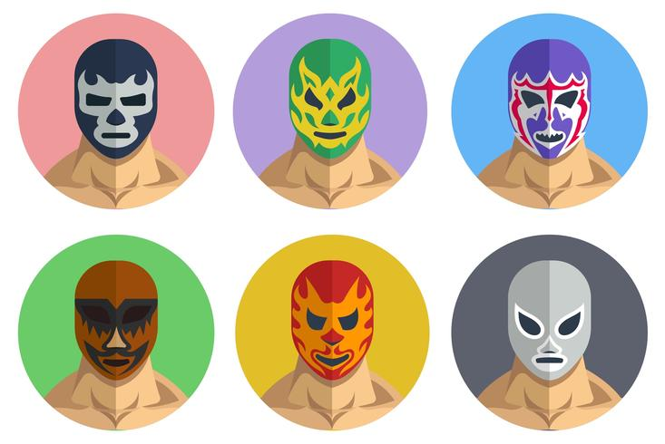 Mexican Wrestler Portrait Vector Set