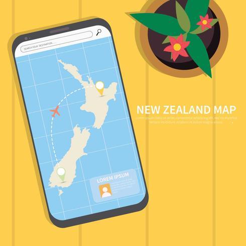 Ilustración de mapa de Nueva Zelanda gratis